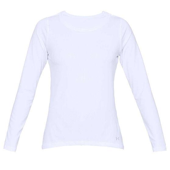 Under Armour Womens HeatGear Armour Long Sleeve Tee, White, rebel_hi-res