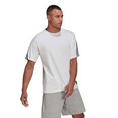 adidas Mens FI 3 Stripes Tee White S, White, rebel_hi-res