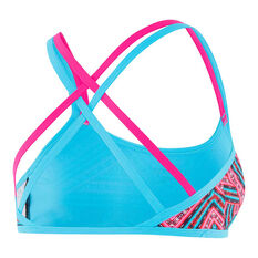 Speedo Womens Ziggy Double Crossback Top Pink / Aqua 8, Pink / Aqua, rebel_hi-res