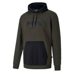 Puma Mens Essentials Big Logo Fleece Hoodie Green S, Green, rebel_hi-res