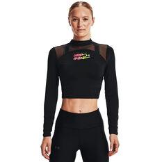 Under Armour Womens HeatGear Mock Neck Top Black XS, Black, rebel_hi-res