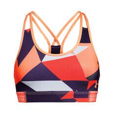 Under Armour Girls HeatGear Armour Sports Bra Purple / Orange XL, Purple / Orange, rebel_hi-res