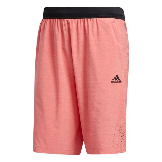 adidas Mens Axis Heathered 3-Stripes Shorts, Red, rebel_hi-res