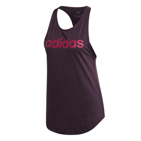adidas Womens Essentials Linear Loose Tank, Purple, rebel_hi-res