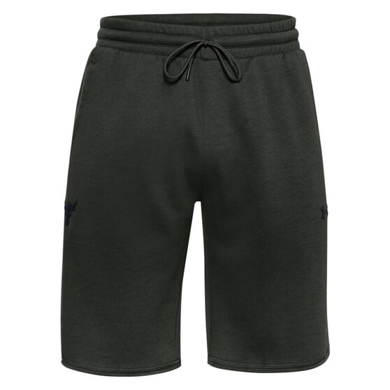 Under Armour Mens Project Rock Charged Cotton Fleece Shorts, Green, rebel_hi-res