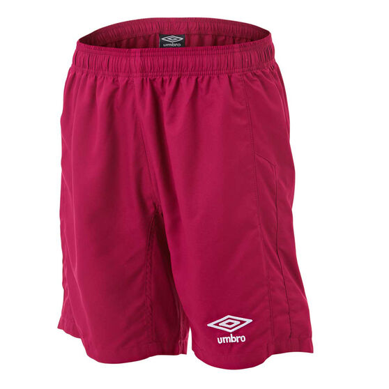 Umbro Kids Junior League Knit Shorts, Claret, rebel_hi-res