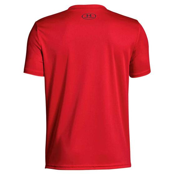 Under Armour Boys Tech Big Logo Solid Tee, Red / Grey, rebel_hi-res