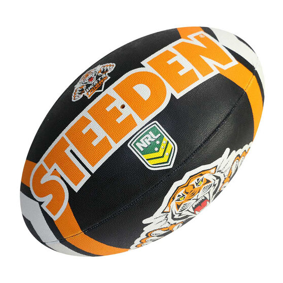 Steeden NRL Wests Tigers Supporter Rugby League Ball, , rebel_hi-res