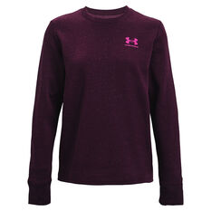 Under Armour Womens Rival Fleece LC Crew Sweater Purple XS, Purple, rebel_hi-res