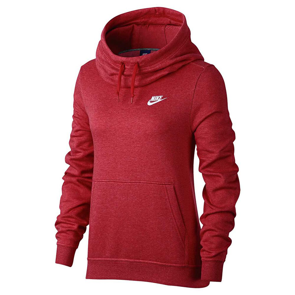 4576e29bfb32 Nike Womens Funnel Neck Hoodie Red   White XL Adult