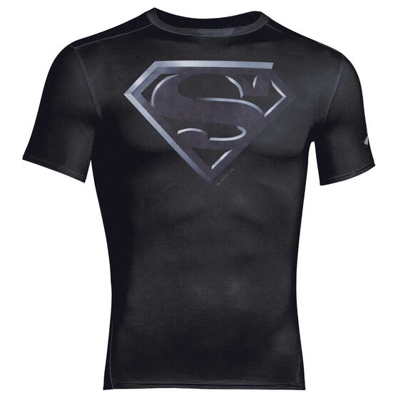 Under Armour Mens Alter Ego Superman Compression Tee Black / Silver S Adult, Black / Silver, rebel_hi-res