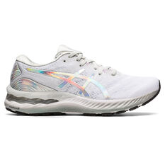 Asics GEL Nimbus 23 Platinum Womens Running Shoes Grey/Silver US 6, Grey/Silver, rebel_hi-res