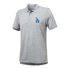 Los Angeles Dodgers Mens Pique Polo Grey S, Grey, rebel_hi-res
