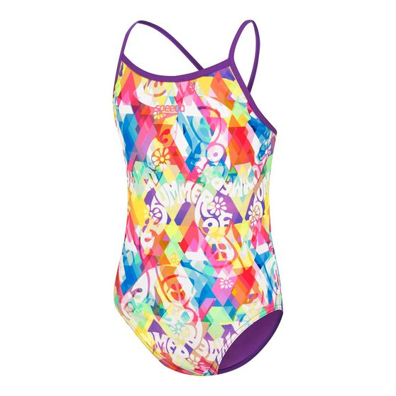 Speedo Girls Squad Sierra One Piece Swimsuit, Print, rebel_hi-res