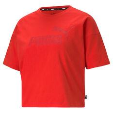 Puma Womens Essentials Logo Tee, Red, rebel_hi-res
