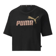 Puma Womens Essential Cropped Tee Black XS, Black, rebel_hi-res