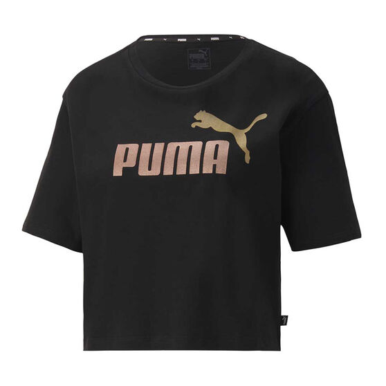 Puma Womens Essential Cropped Tee, Black, rebel_hi-res