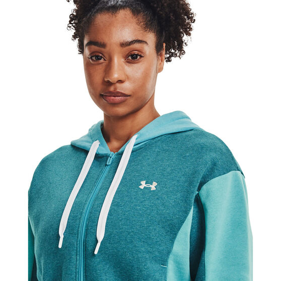Under Armour Womens UA Rival Fleece Embroidered Full Zip Hoodie, Green, rebel_hi-res