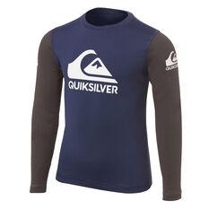 Quiksilver Boys Heats On Long Sleeve Rash Vest Blue 2, Blue, rebel_hi-res