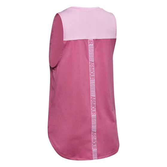 Under Armour Girls HeatGear Tank, Pink / Blue, rebel_hi-res