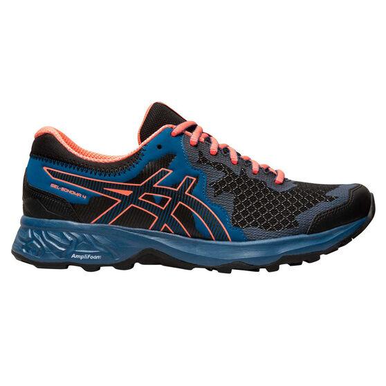 Asics GEL Sonoma 4 D Womens Trail Running Shoes, Black / Orange, rebel_hi-res