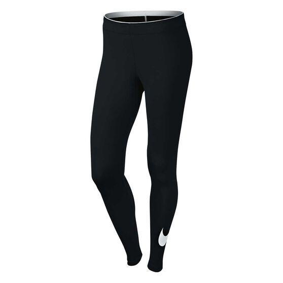 Nike Womens Club Logo Leggings, Black / White, rebel_hi-res
