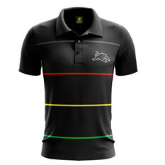 Penrith Panthers Mens Club Line Performance Polo Black S, Black, rebel_hi-res