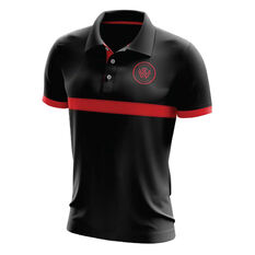 Western Sydney Wanderers Mens Performance Polo Black S, Black, rebel_hi-res