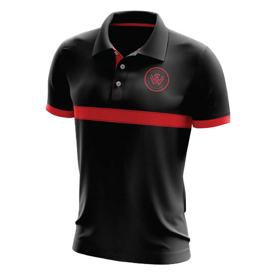 Western Sydney Wanderers Mens Performance Polo, Black, rebel_hi-res