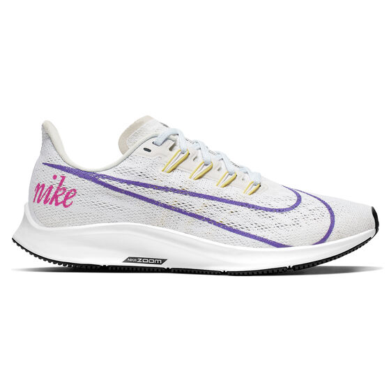 Nike Air Zoom Pegasus 36 Disrupt Womens Running Shoes, White / Purple, rebel_hi-res