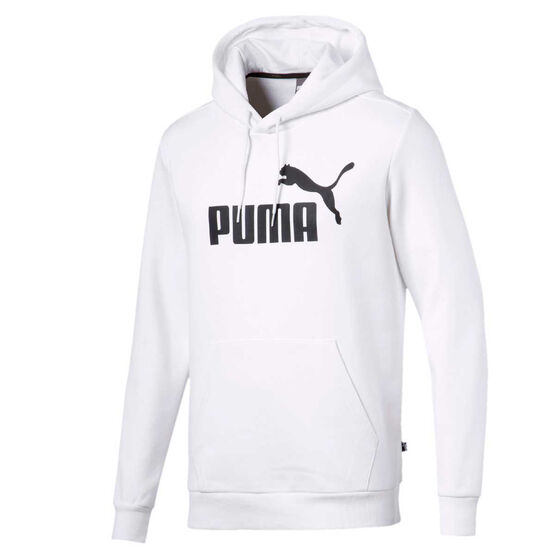 Puma Mens Essentials Big Logo Fleece Hoodie, White, rebel_hi-res