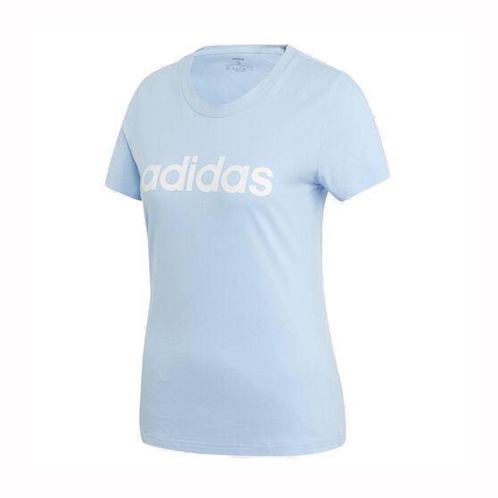 adidas Womens Essentials Linear Slim Tee, Blue, rebel_hi-res