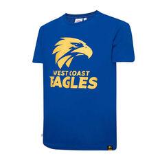 West Coast Eagles Mens Supporter Logo Tee Blue S, Blue, rebel_hi-res