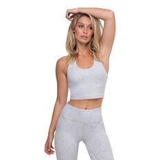 L'urv Womens Summit Midi Sports Bra Grey XS, Grey, rebel_hi-res