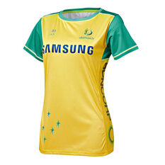 Australian Diamonds 2019 Kids Replica Netball Tee Gold / Green XS, Gold / Green, rebel_hi-res