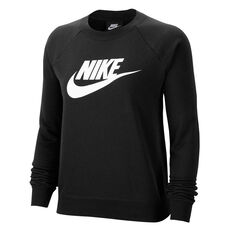 Nike Womens Sportswear Essential Fleece Sweatshirt Black XS, Black, rebel_hi-res