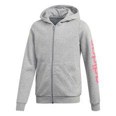 adidas Girls Essential Linear Hoodie Grey / Pink 6, Grey / Pink, rebel_hi-res