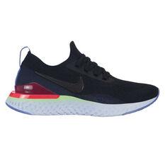Nike Epic React Flyknit 2 Kids Running Shoes Black / Blue US 4, Black / Blue, rebel_hi-res