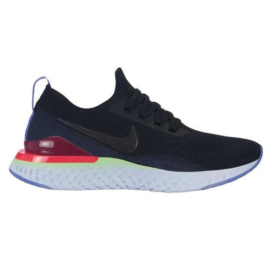 a8b9e0e3c359 Nike Epic React Flyknit 2 Kids Running Shoes, Black / Blue, rebel_hi-res