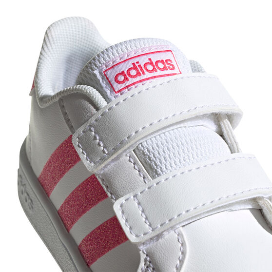 adidas Grand Court Toddlers Shoes, White/Pink, rebel_hi-res