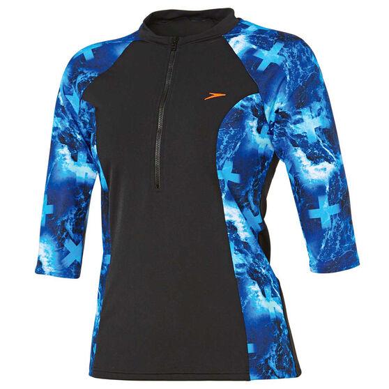 Speedo Womens Half Zip 3 / 4 Sun Top, Blue, rebel_hi-res