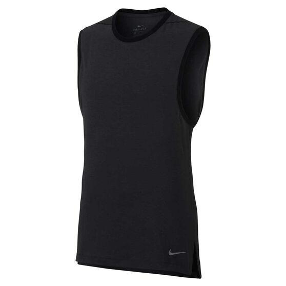9c7a7bb268 Nike Mens Dri-FIT Yoga Training Tank, Black / Grey, rebel_hi-res