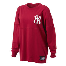 Majestic Womens Rando LS Yankees Tee Red XS, Red, rebel_hi-res