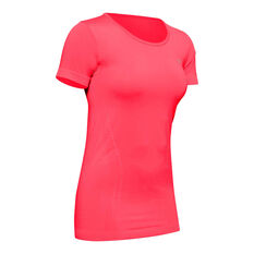 Under Armour Womens Seamless Tee Red S, Red, rebel_hi-res