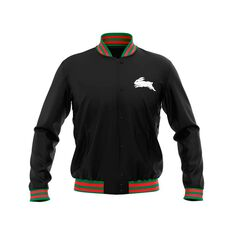 South Sydney Rabbitohs 2019 Mens Club Varsity Jacket Black S, Black, rebel_hi-res