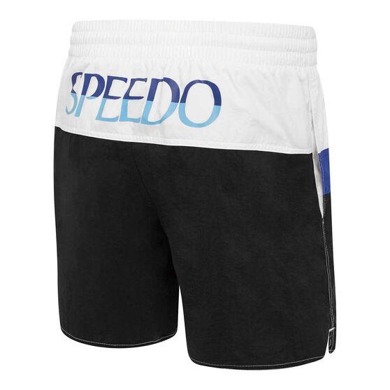 Speedo Mens Split Logo Watershort, Black/White, rebel_hi-res