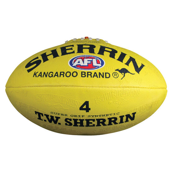 Sherrin Synthetic Australian Rules Ball, Yellow, rebel_hi-res