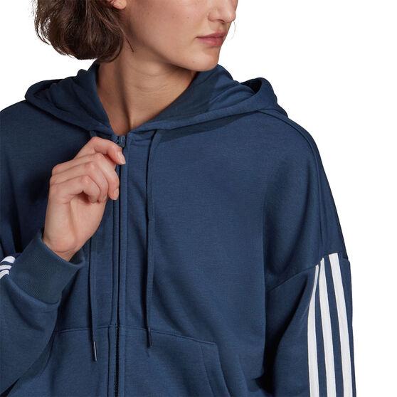 adidas Womens Full Zip 3 Stripes Fleece Hoodie, Navy, rebel_hi-res