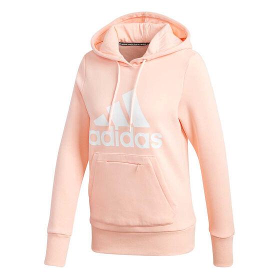 adidas Womens Badge Of Sport Hoodie, Coral, rebel_hi-res