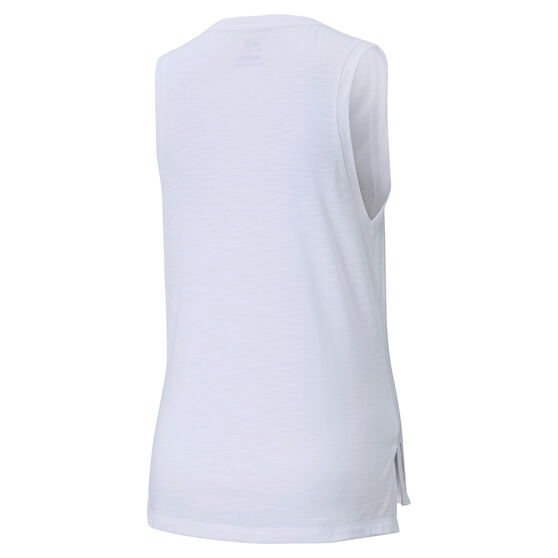 Puma Womens Favourite Cat Muscle Training Tank, White, rebel_hi-res